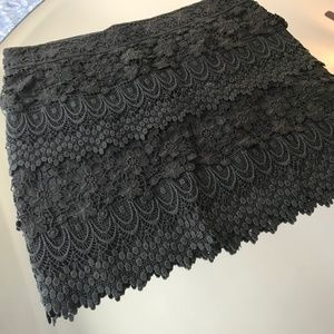 Tiered Lace Crochet Brown Skirt AEO Mini 2 S